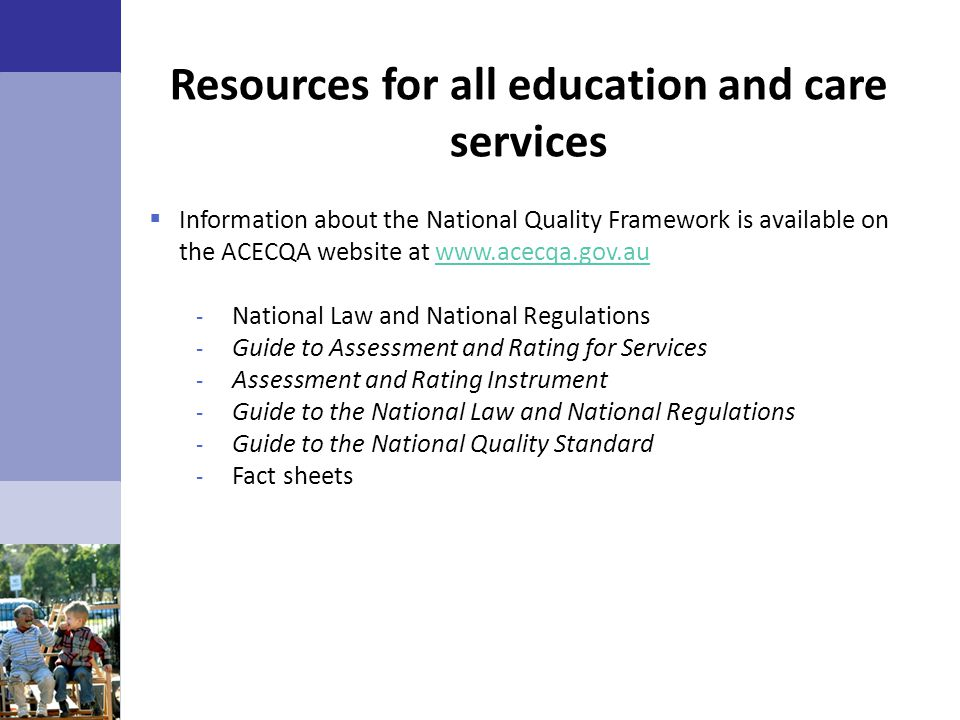 Resources for all education and care services
