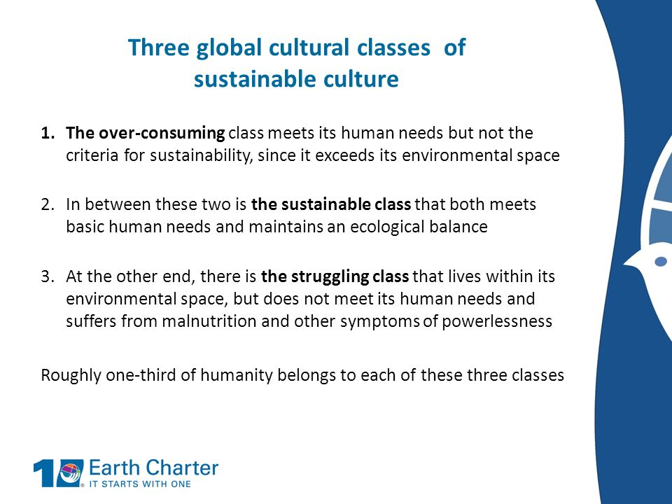 Three global cultural classes of sustainable culture