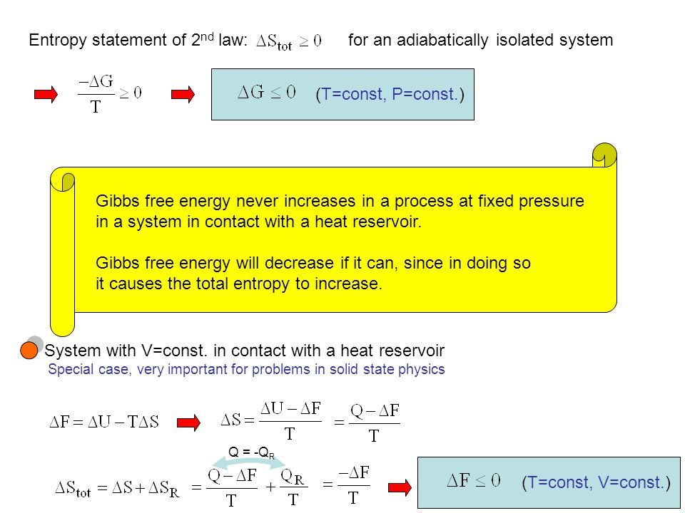 Entropy statement of 2nd law: for an adiabatically isolated system
