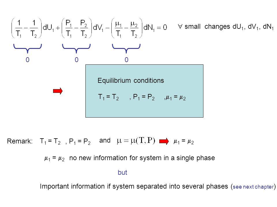  small changes dU1, dV1, dN1 Equilibrium conditions. T1 = T2. , P1 = P2. ,1 = 2. Remark: T1 = T2.