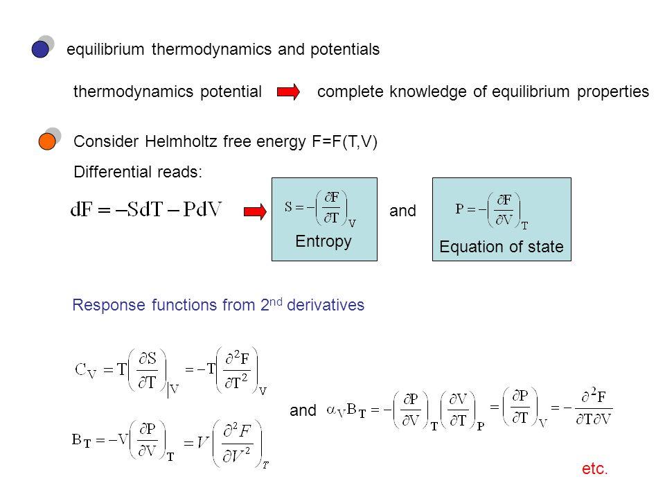 equilibrium thermodynamics and potentials