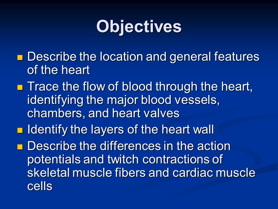 Objectives Describe the location and general features of the heart