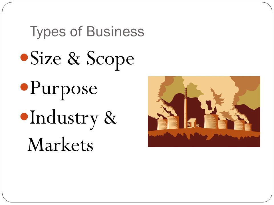 Size & Scope Purpose Industry & Markets Types of Business