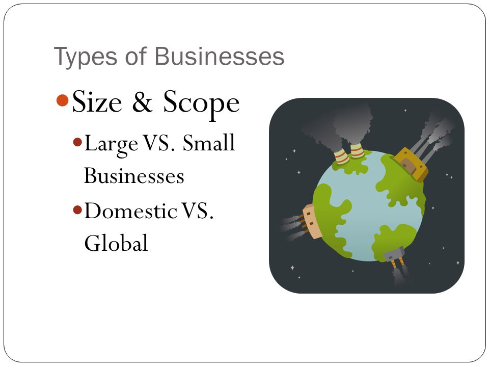 Size & Scope Types of Businesses Large VS. Small Businesses