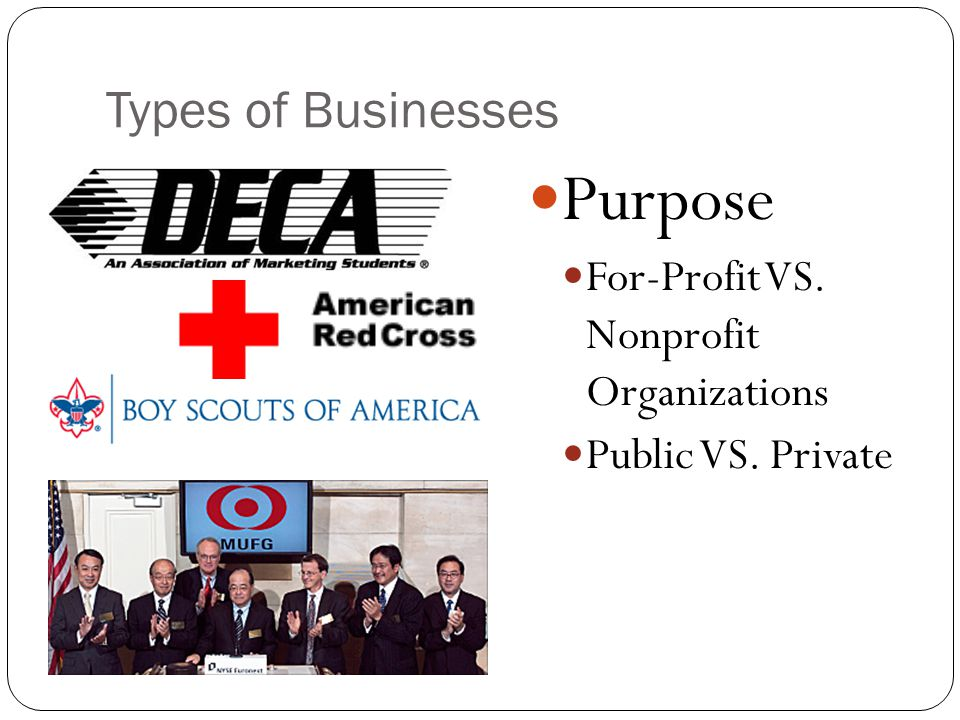 Purpose Types of Businesses For-Profit VS. Nonprofit Organizations
