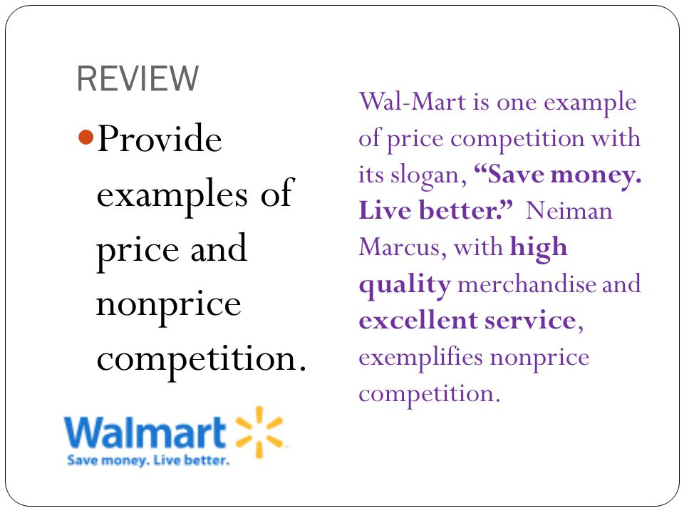 Provide examples of price and nonprice competition.