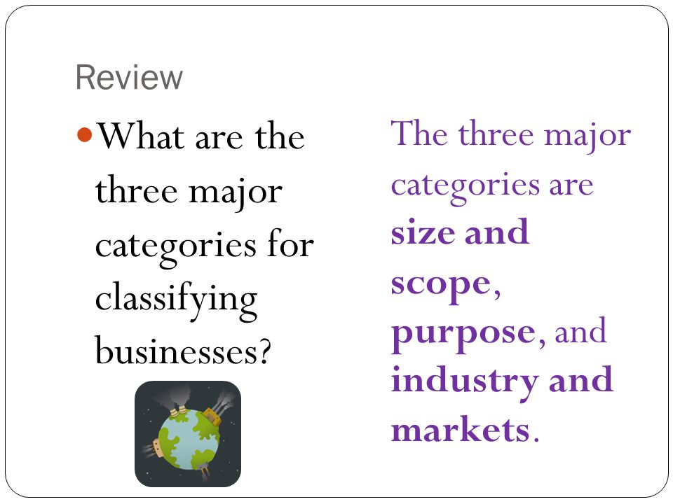 What are the three major categories for classifying businesses