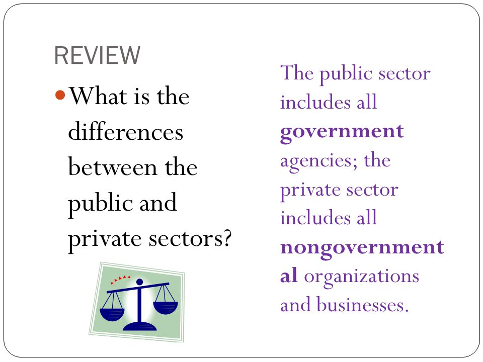 What is the differences between the public and private sectors