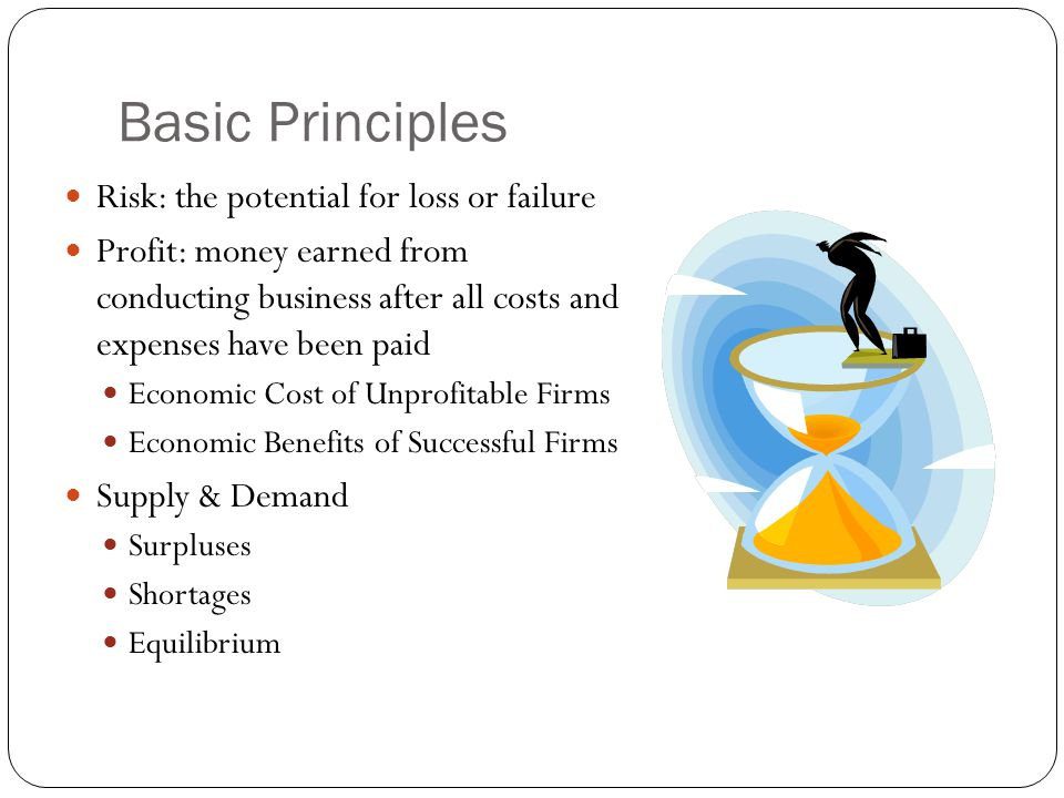 Basic Principles Risk: the potential for loss or failure