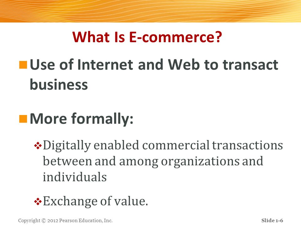 Use of Internet and Web to transact business
