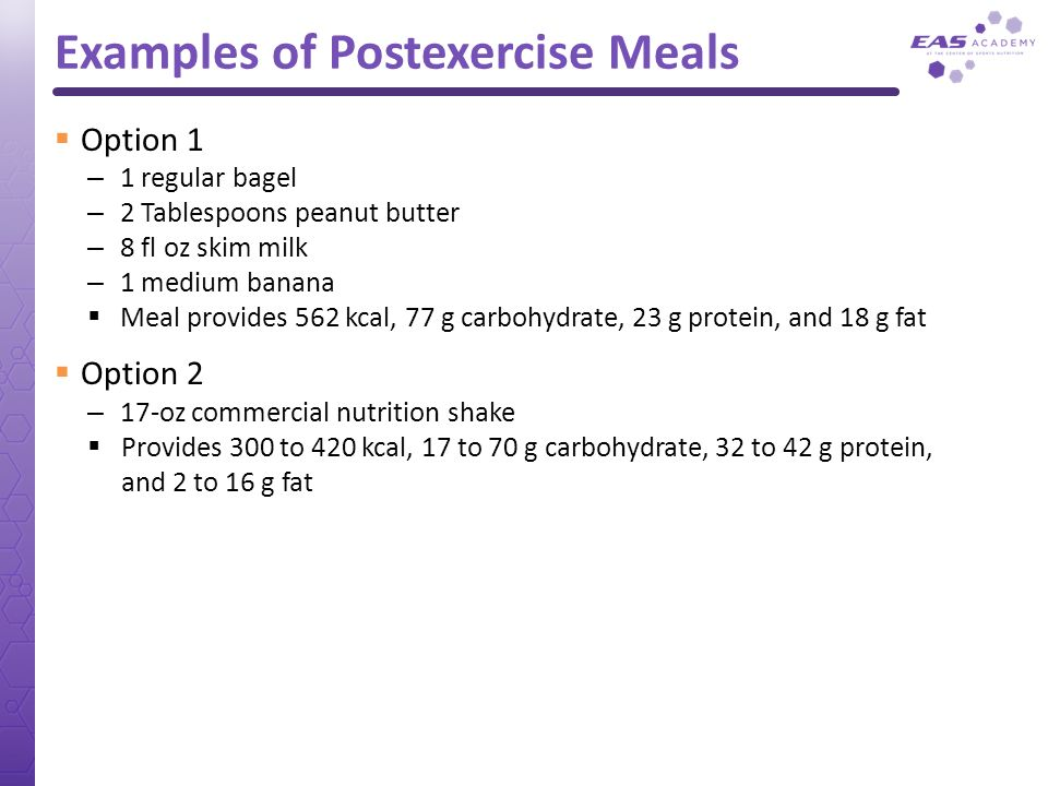 Examples of Postexercise Meals