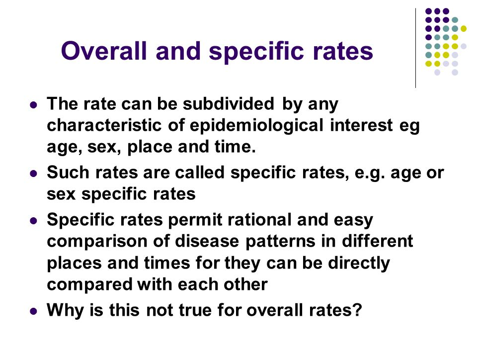 Overall and specific rates