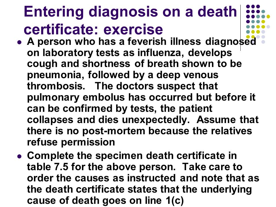 Entering diagnosis on a death certificate: exercise