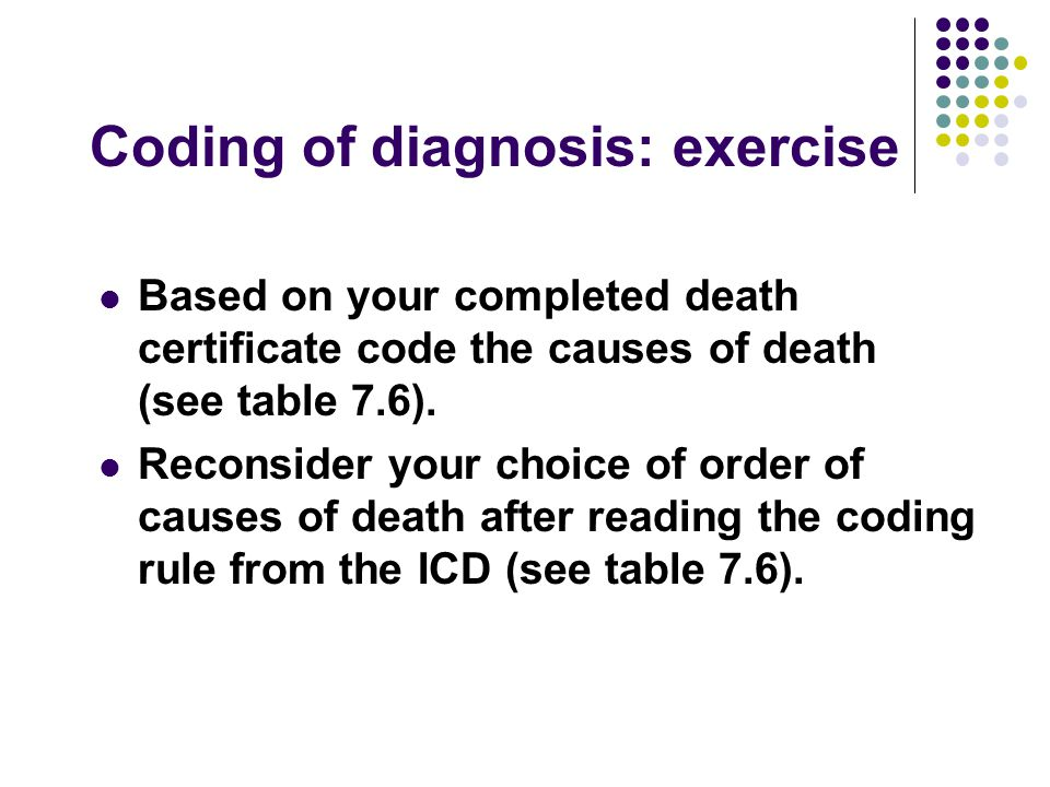 Coding of diagnosis: exercise