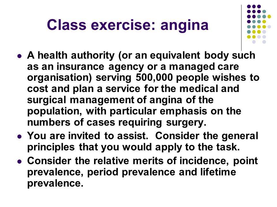 Class exercise: angina
