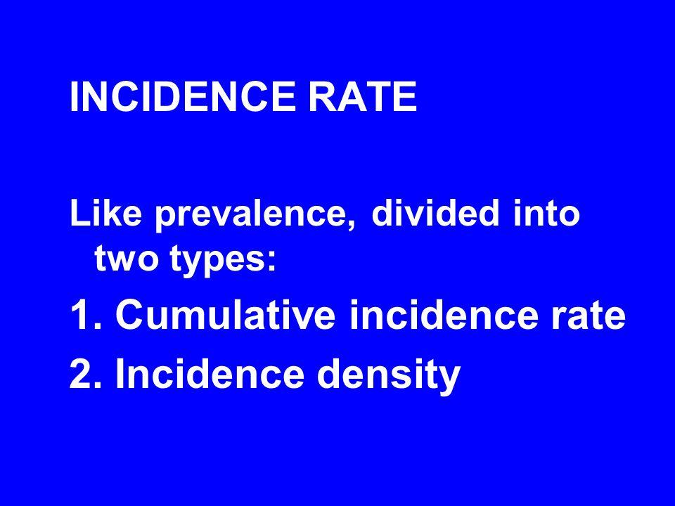 1. Cumulative incidence rate 2. Incidence density