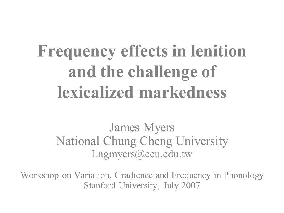 Frequency effects in lenition and the challenge of lexicalized markedness