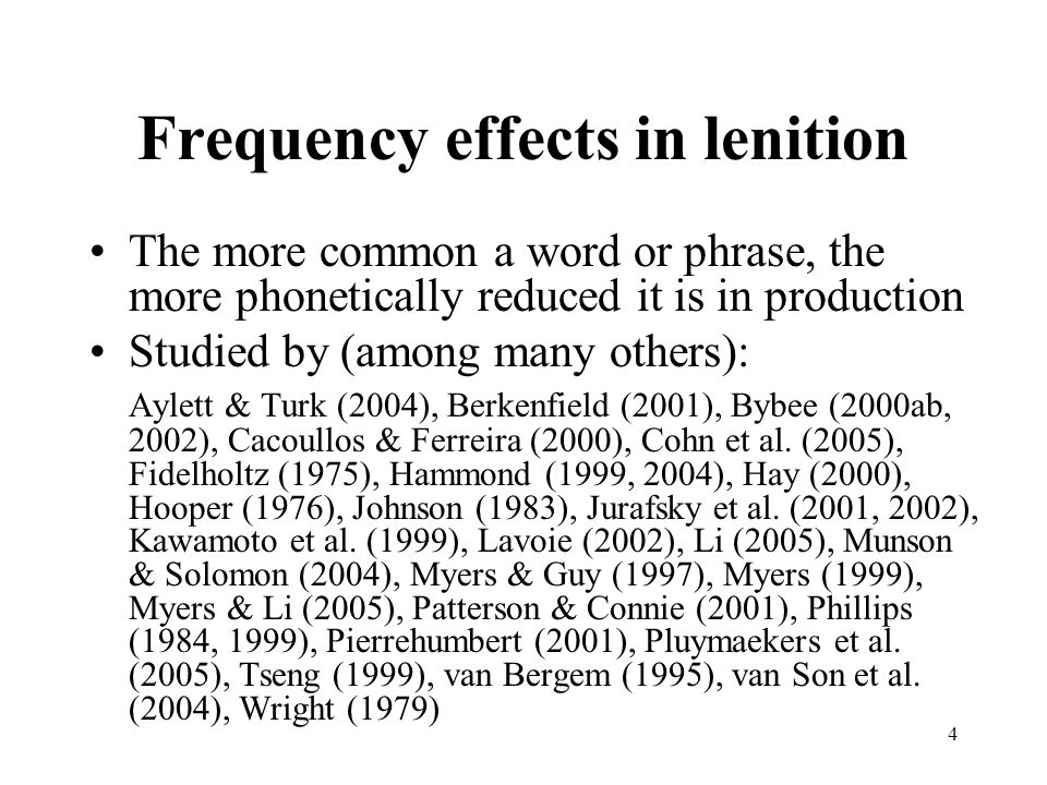 Frequency effects in lenition