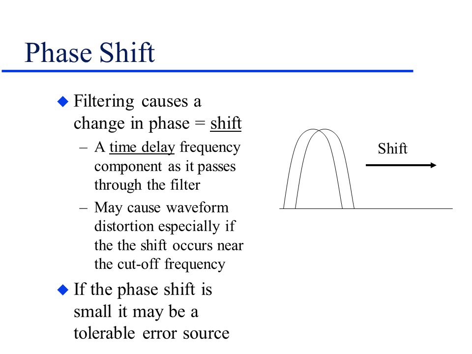 Phase Shift Filtering causes a change in phase = shift