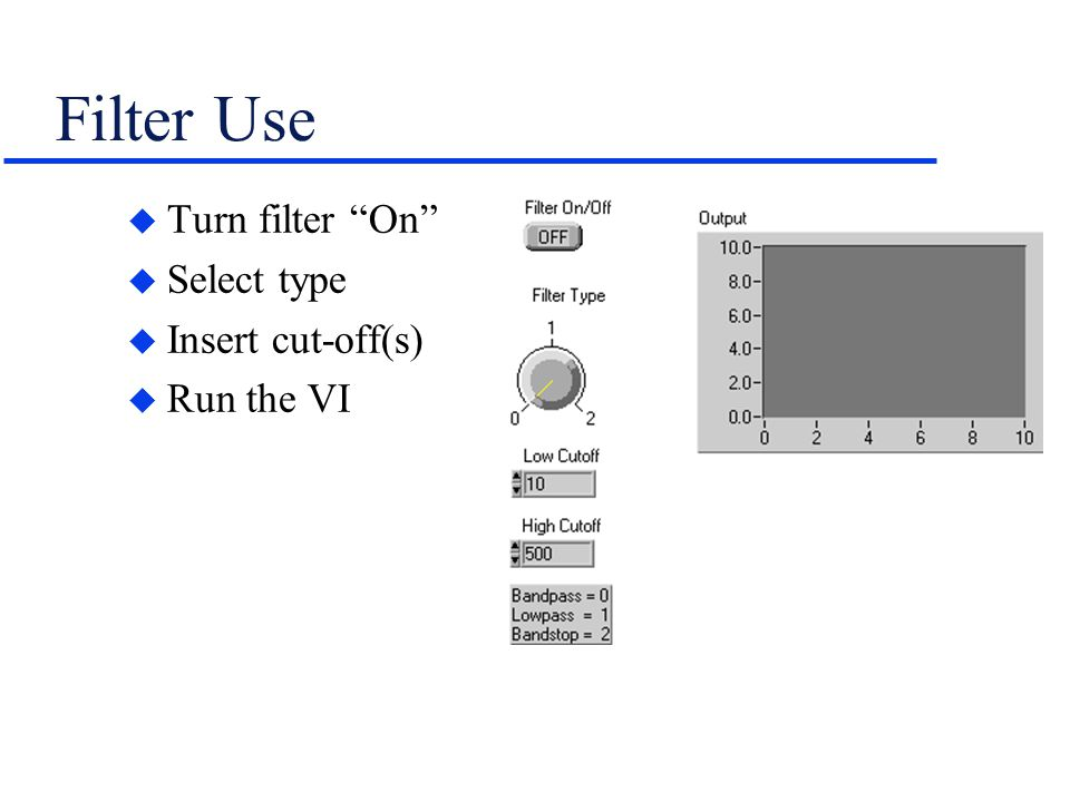 Filter Use Turn filter On Select type Insert cut-off(s) Run the VI