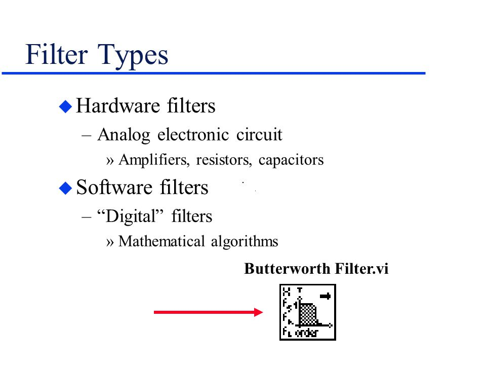 Filter Types Hardware filters Software filters