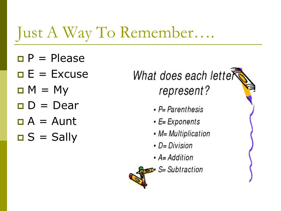 Just A Way To Remember…. P = Please E = Excuse M = My D = Dear