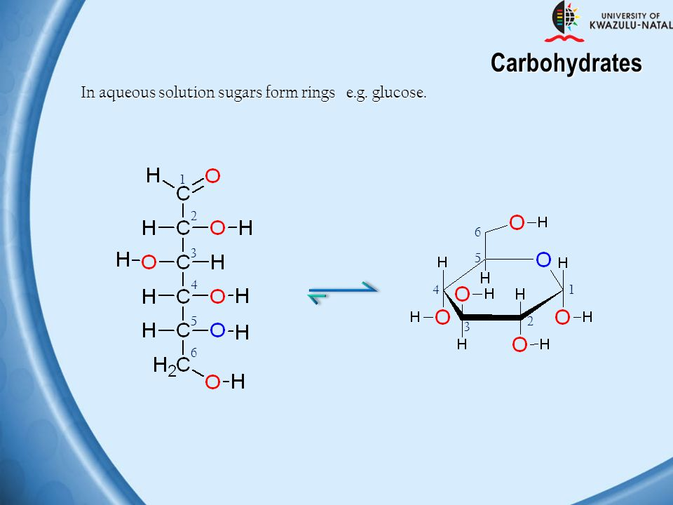 Carbohydrates In aqueous solution sugars form rings e.g. glucose. 1 2