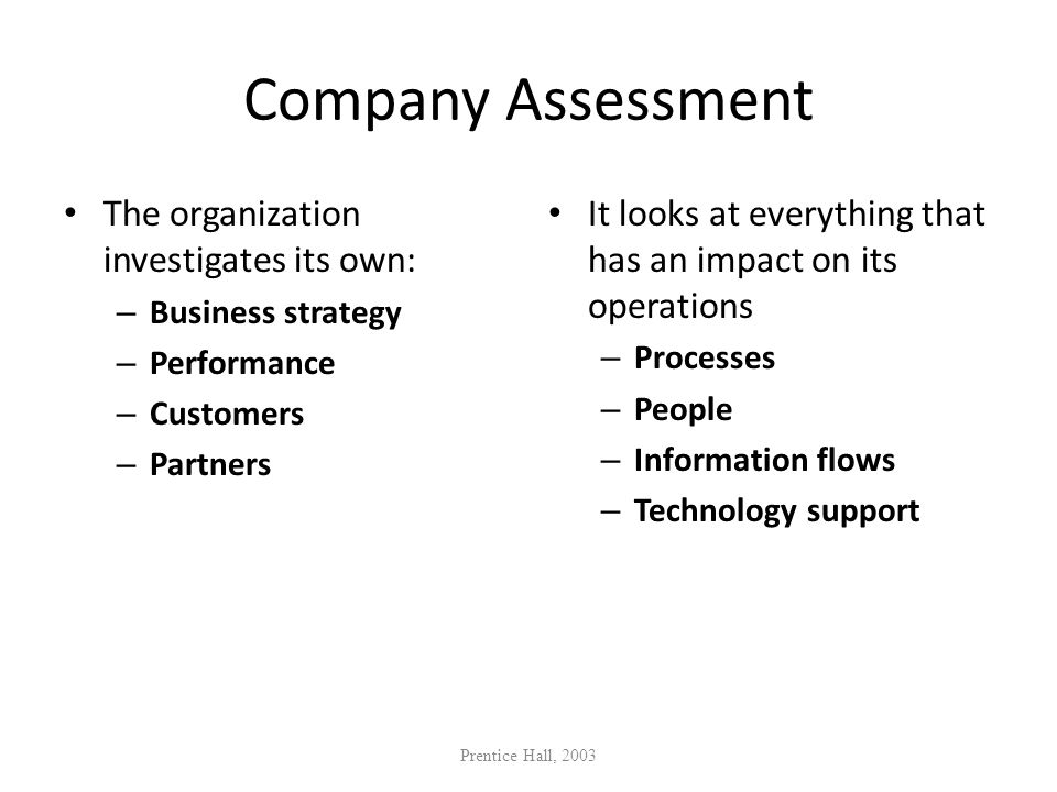 Company Assessment The organization investigates its own: