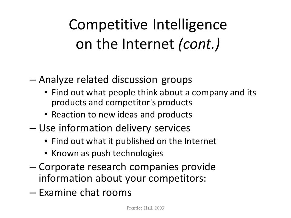 Competitive Intelligence on the Internet (cont.)