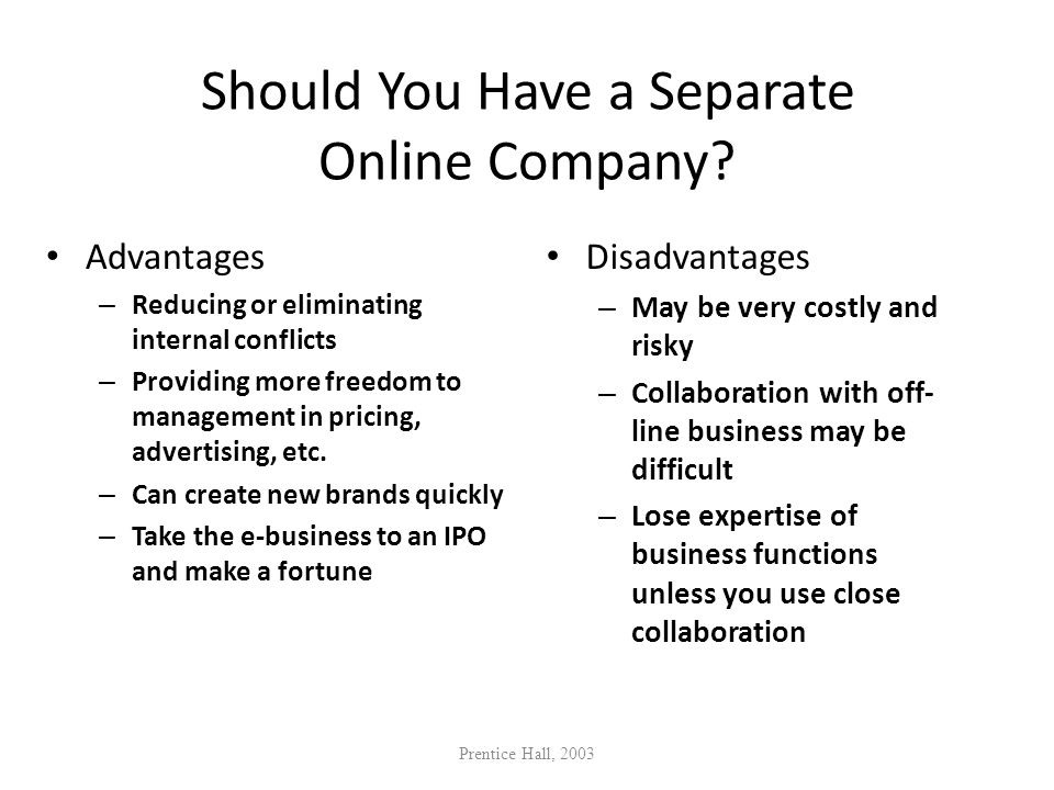 Should You Have a Separate Online Company