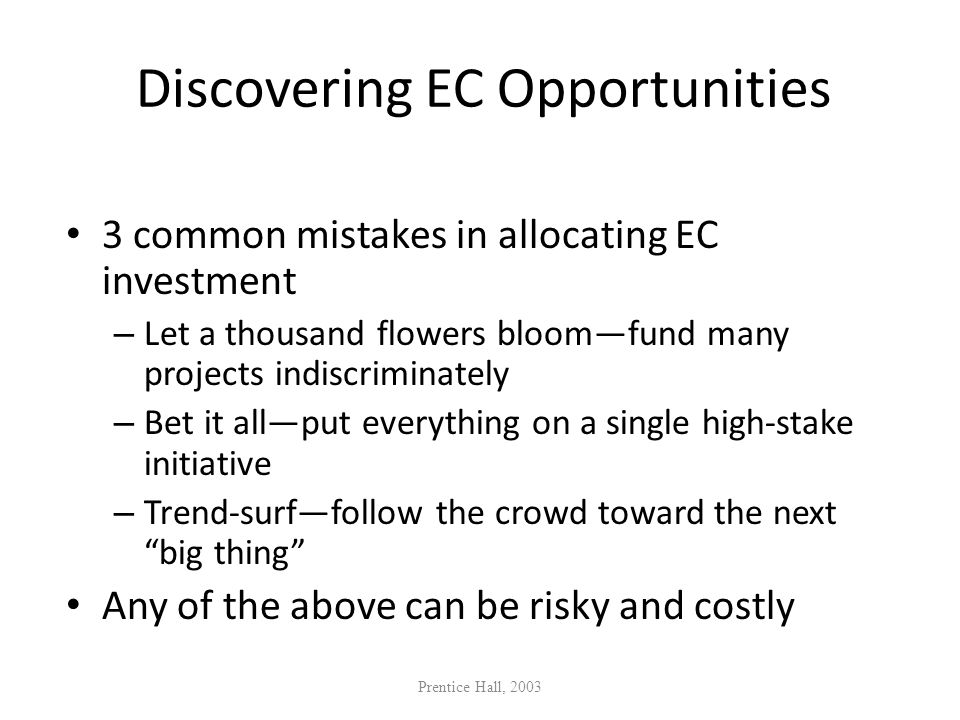 Discovering EC Opportunities