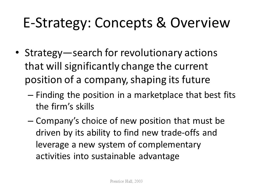 E-Strategy: Concepts & Overview