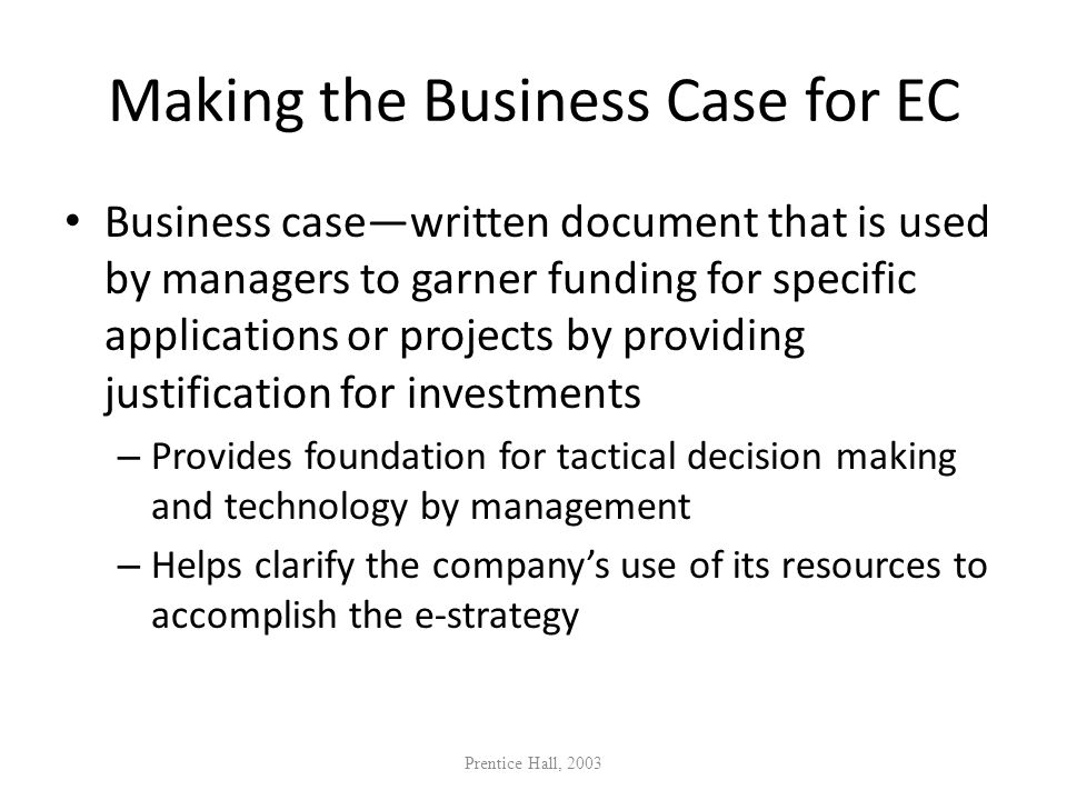Making the Business Case for EC