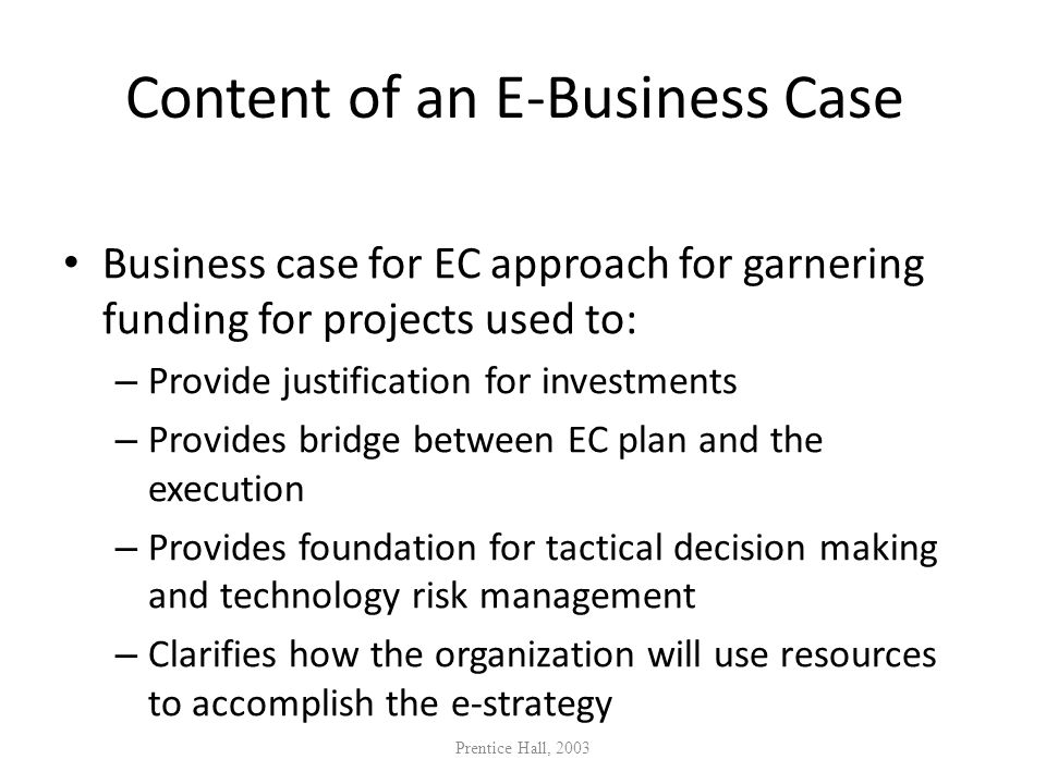 Content of an E-Business Case