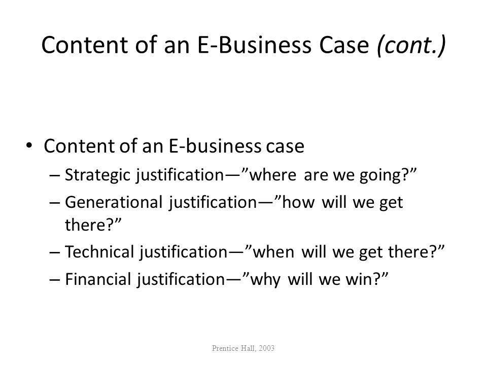 Content of an E-Business Case (cont.)