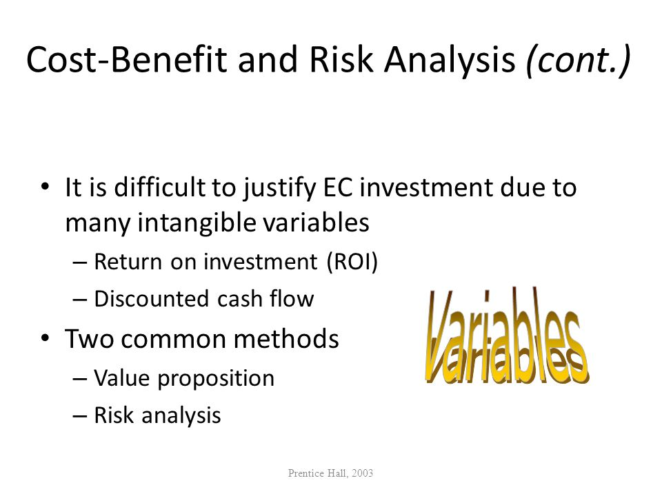 Cost-Benefit and Risk Analysis (cont.)