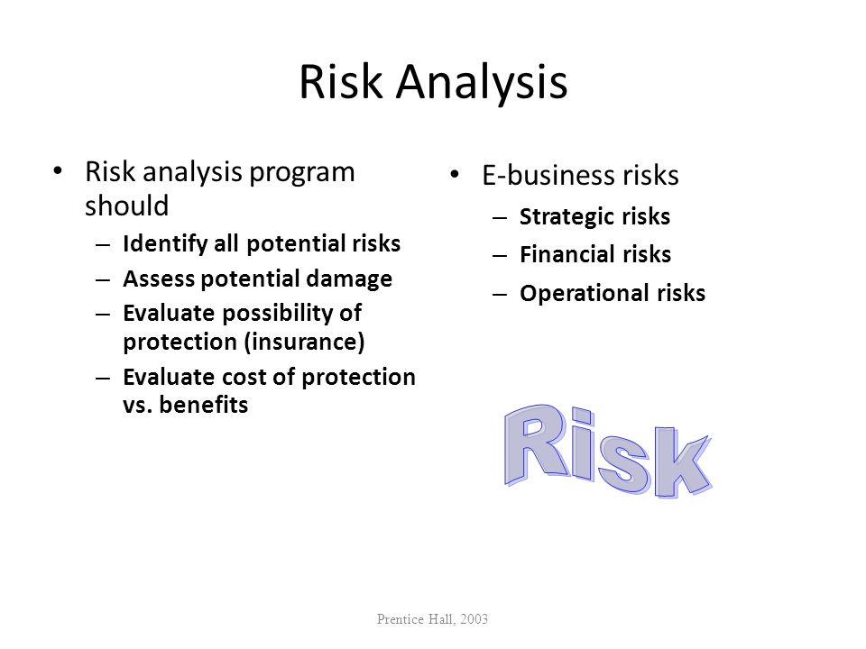Risk Analysis Risk Risk analysis program should E-business risks