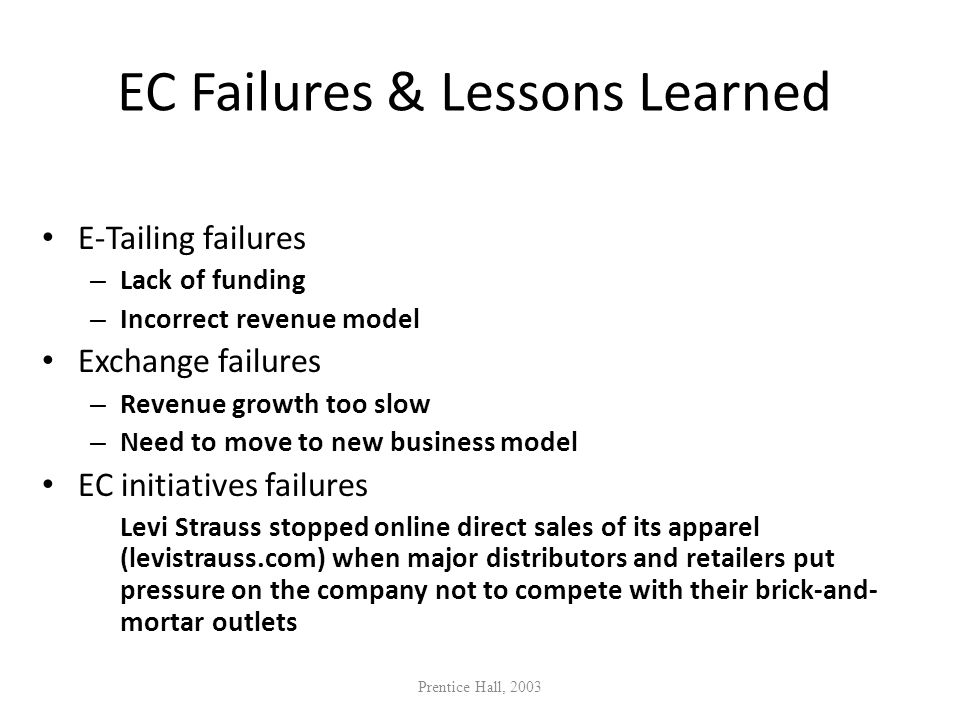 EC Failures & Lessons Learned
