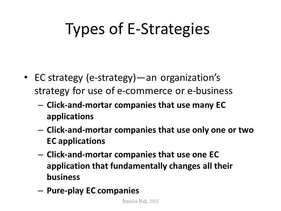 Types of E-Strategies EC strategy (e-strategy)—an organization's strategy for use of e-commerce or e-business.