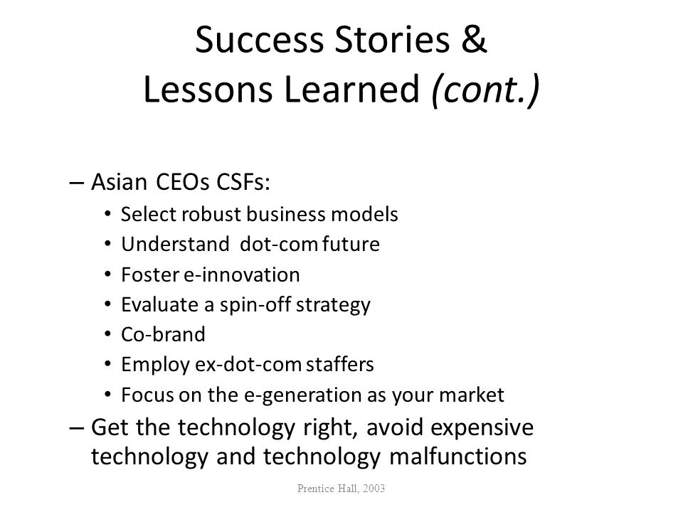 Success Stories & Lessons Learned (cont.)