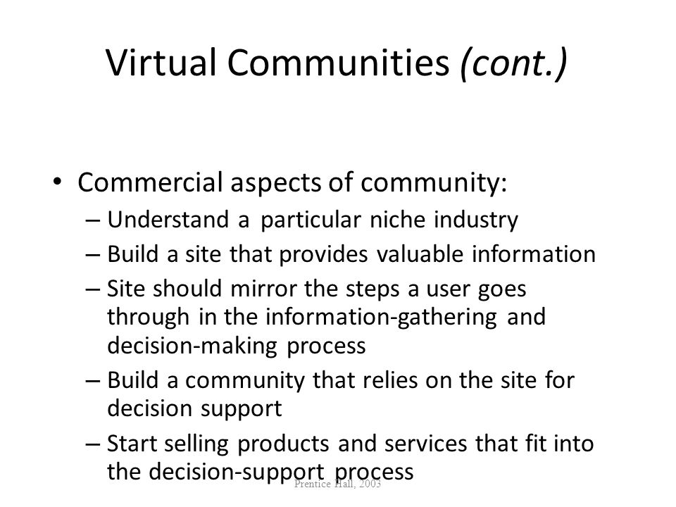Virtual Communities (cont.)
