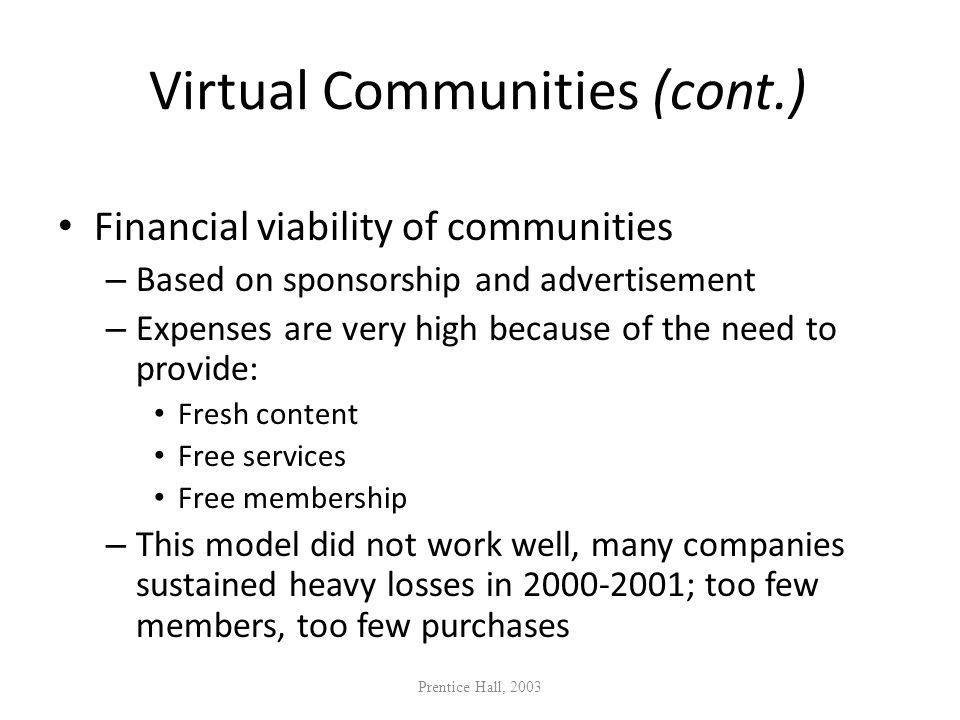 Virtual Communities (cont.)