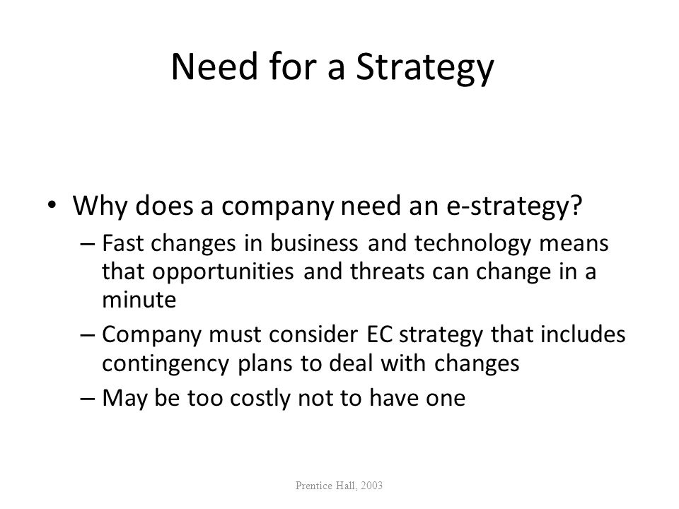 Need for a Strategy Why does a company need an e-strategy