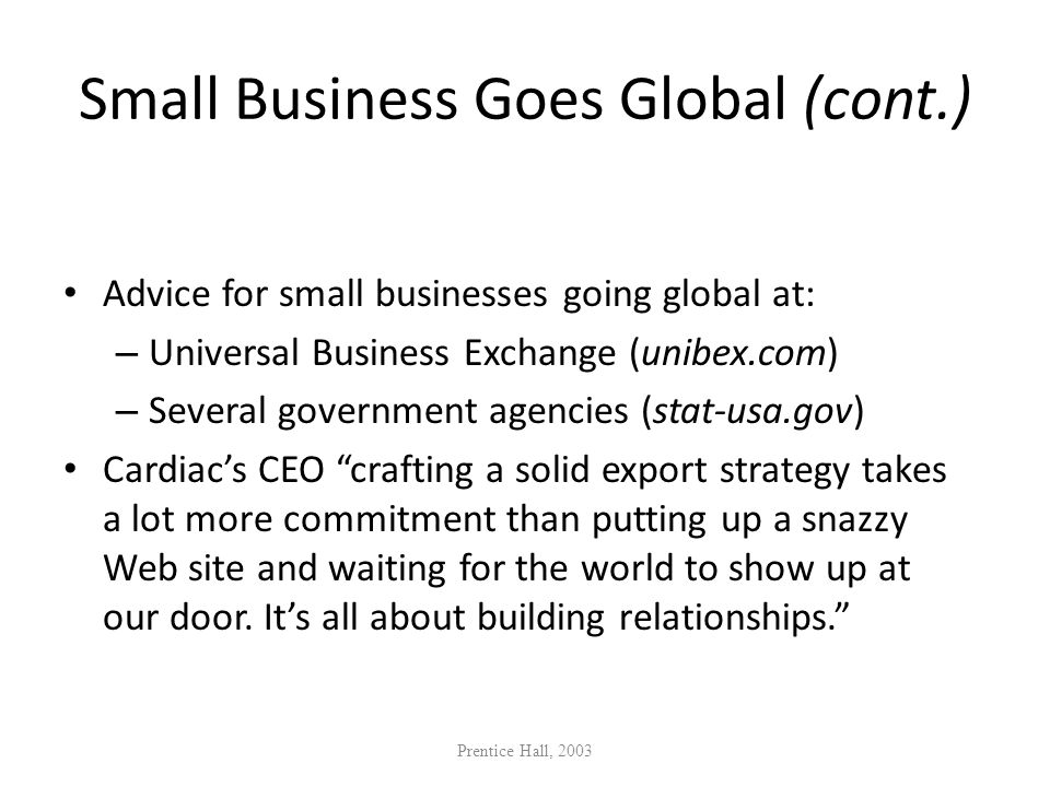 Small Business Goes Global (cont.)