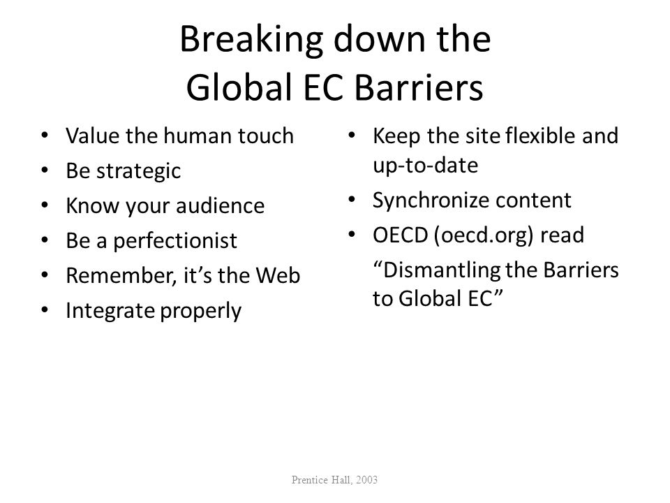 Breaking down the Global EC Barriers