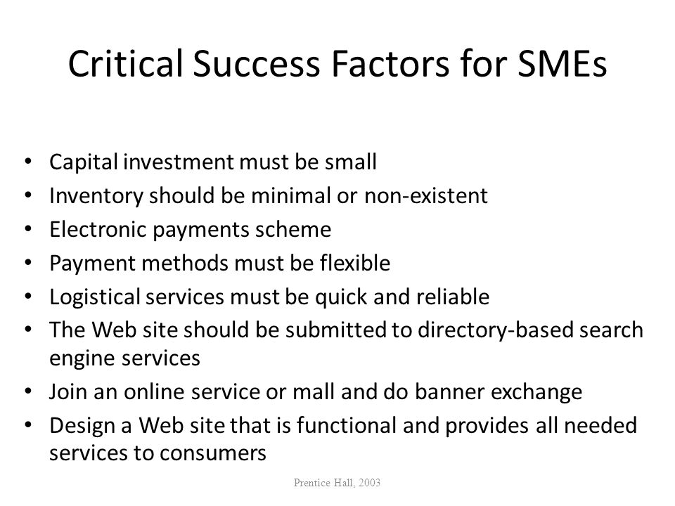 Critical Success Factors for SMEs