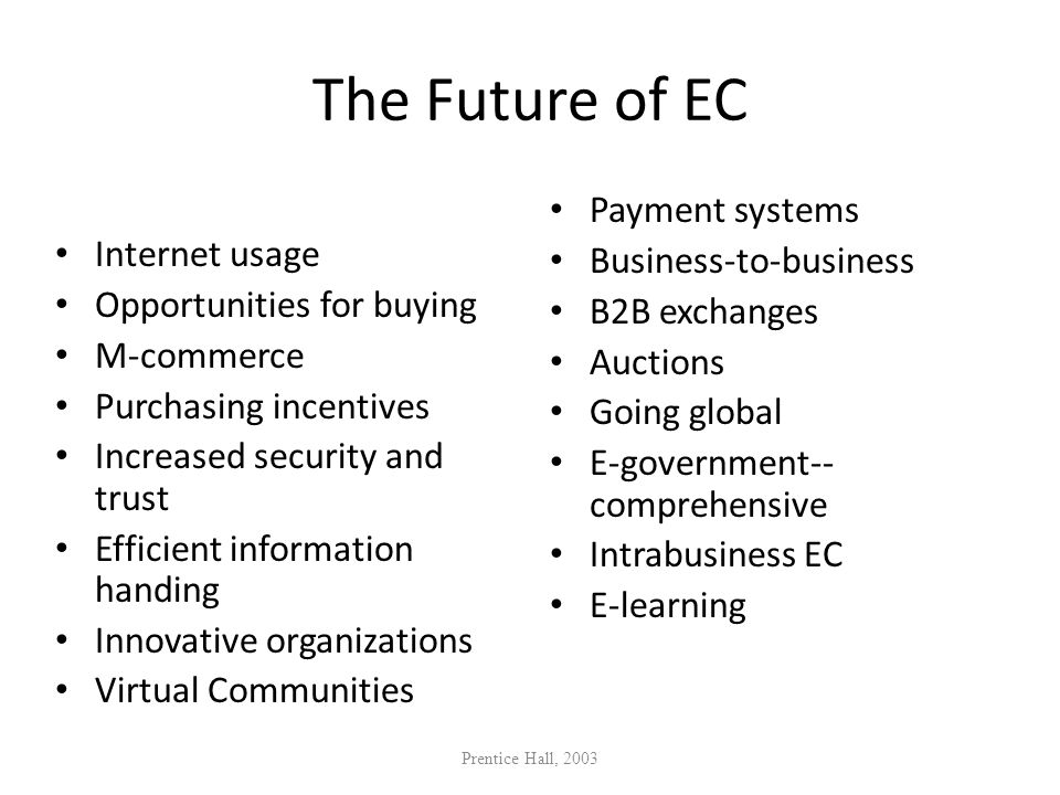 The Future of EC Payment systems Business-to-business Internet usage