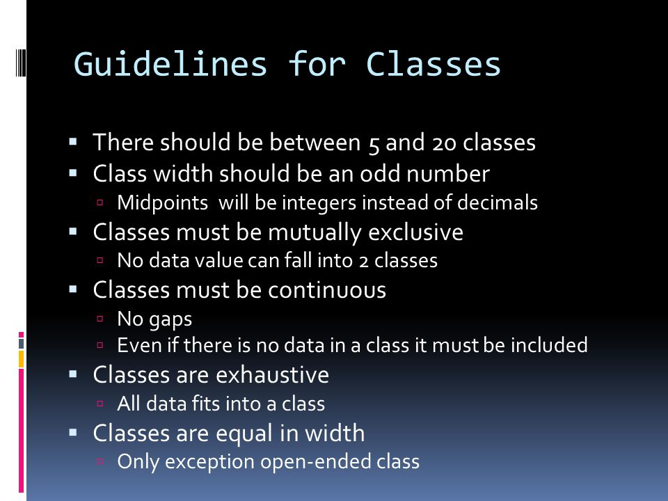 Guidelines for Classes