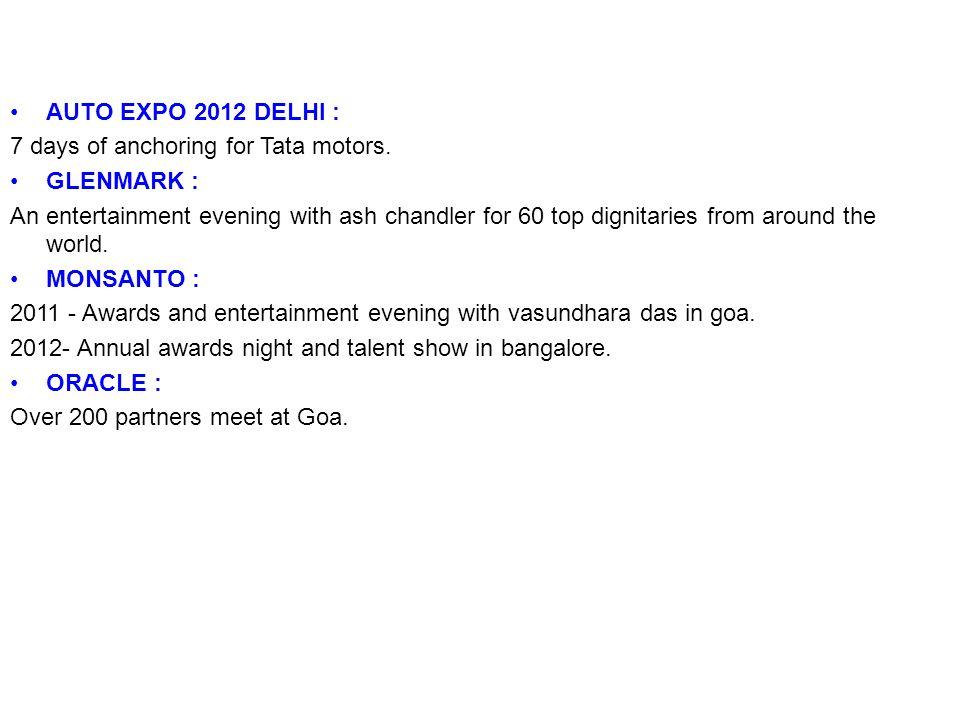 AUTO EXPO 2012 DELHI :7 days of anchoring for Tata motors. GLENMARK :