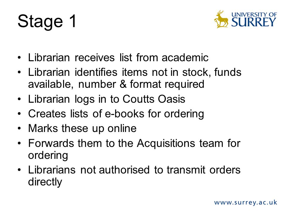 Stage 1 Librarian receives list from academic